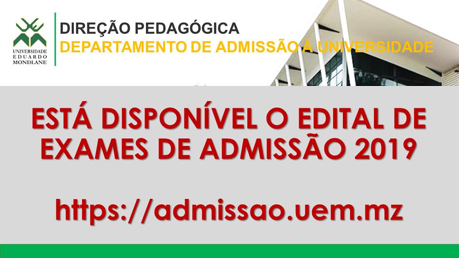 Disponível Edital de Exames de Admissão 2019