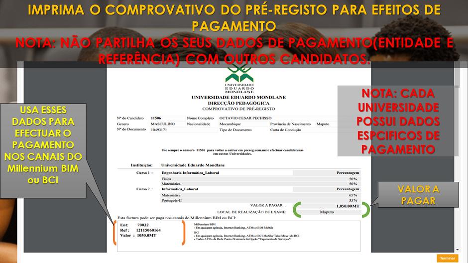 8. Imprima o Comprovativo de Pré-registo para efeitos de pagamento, clica em terminar