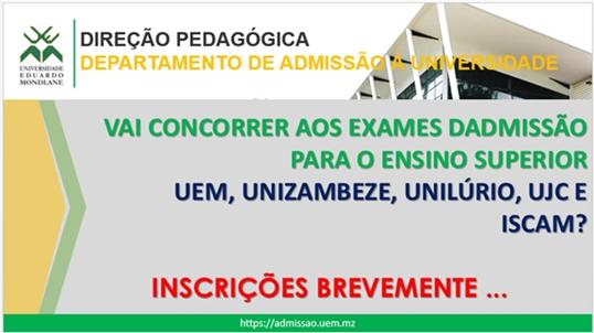 Inscrições para Exames de Admissão
