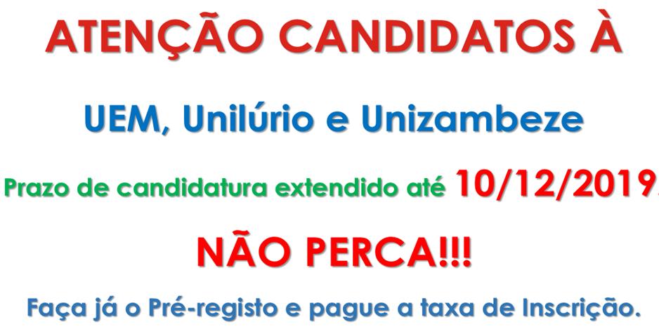 Candidatos a UEM,UN e UZ